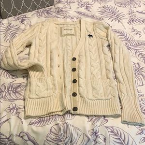 Wool blend cable knit cream cardigan